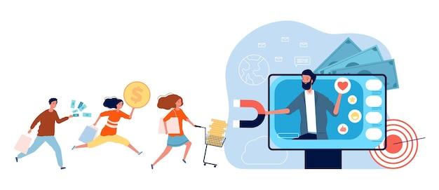 Marketing comercial. atraindo clientes e fregueses, as pessoas correm para as compras com dinheiro. homem dá publicidade online e atrai o conceito de vetor de compradores. ilustração de promoção de compras de marketing