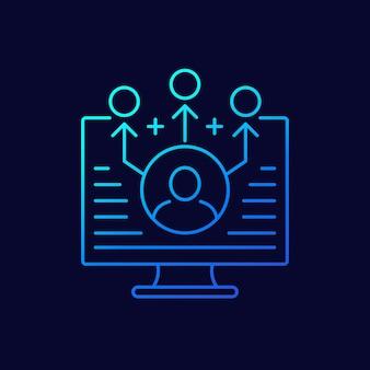 Marketing de afiliados, ícone de linha de referências, vetor