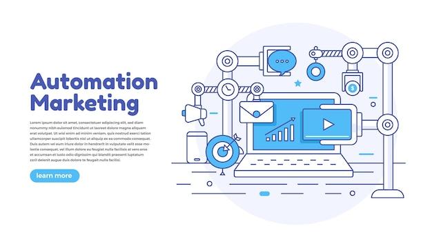 Marketing de automação de conceito de design plano. ferramentas de marketing digital. modelo de design para site e banner.