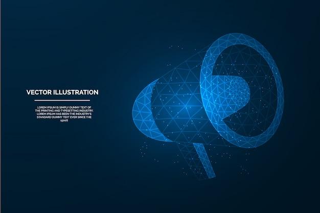 Marketing de baixo poli, anúncio, promoção, propaganda megafone néon ilustração sobre fundo azul