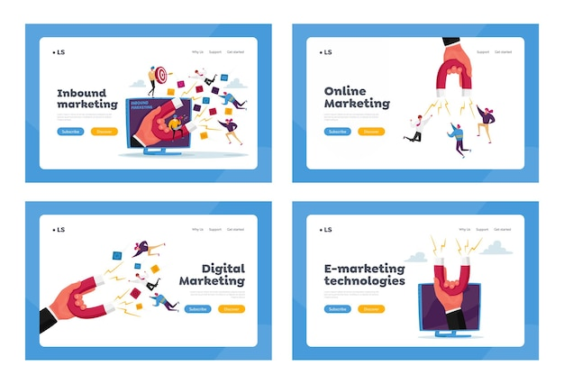 Marketing de entrada, conjunto de modelos de página de destino de realização de metas financeiras. mão com ímã enorme atrai personagens