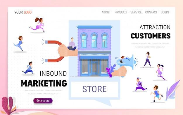 Marketing de entrada e aquisição do cliente landing page