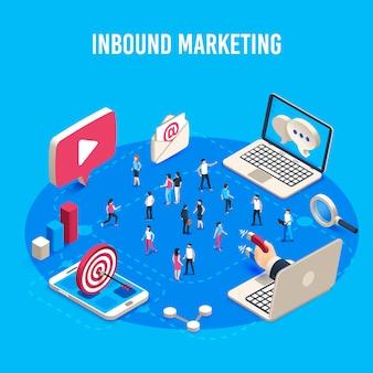 Marketing de entrada isométrico