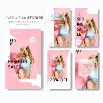 Marketing de histórias do instagram rosa