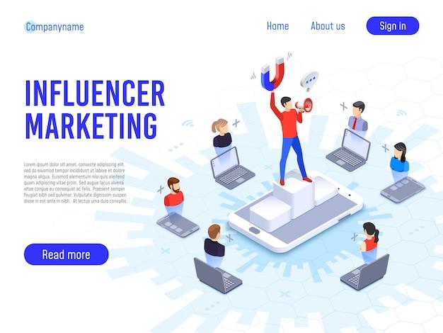 Marketing de influenciadores. influência em clientes b2c, potenciais compradores de produtos ou compradores de produtos de consumo