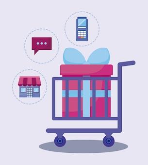 Marketing de mídia social com carrinho de compras