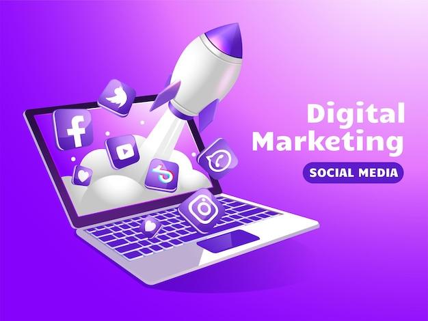Marketing de mídia social com laptop e foguete de impulso