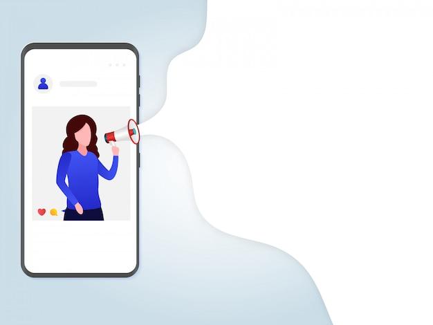 Marketing de mídia social com modelo de fumaça branca