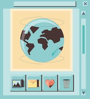 Marketing de mídia social com o planeta do mundo