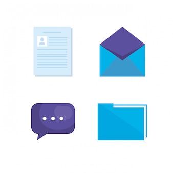 Marketing de mídia social conjunto de ícones