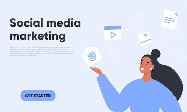 Marketing de mídia social. mulher especialista em marketing mostrando ícones de mídia.