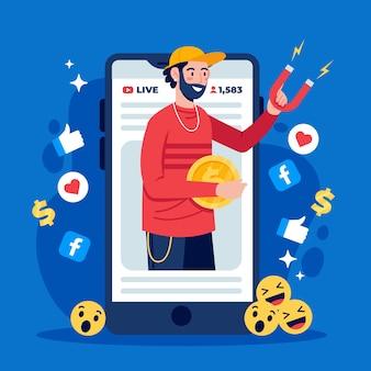 Marketing de mídia social no celular
