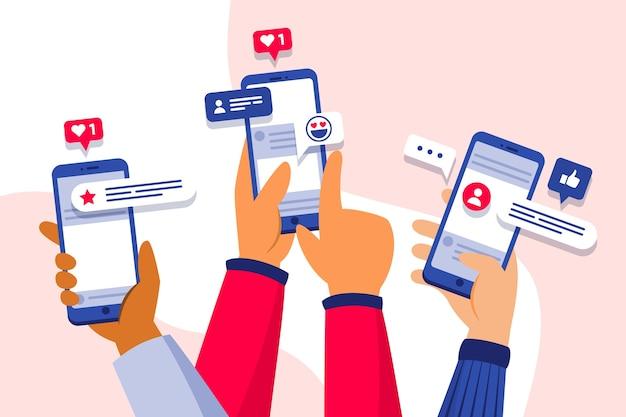 Marketing de mídia social no conceito de telefone Vetor Premium