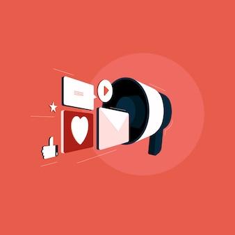 Marketing de mídia social, smm, megafone compartilhando mensagens publicitárias nas mídias sociais, comunicação em rede, publicidade na internet Vetor Premium