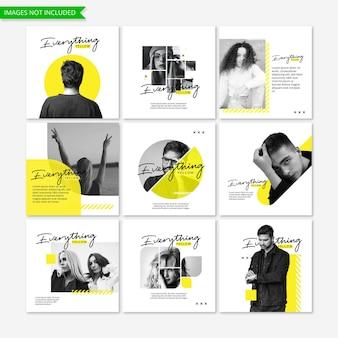 Marketing de negócios amarelo mídia social instagram post templat