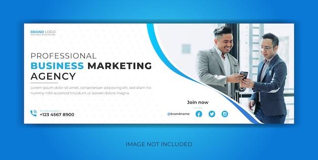 Marketing de negócios corporativos em mídia social postar página de capa do facebook