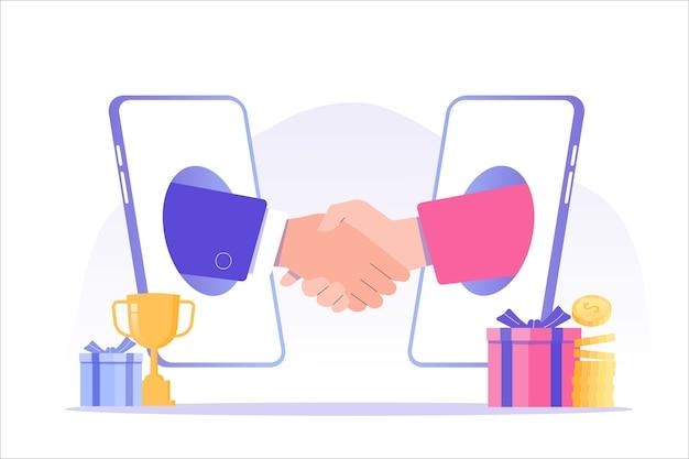Marketing de referência com empresários apertando as mãos em um grande smartphone
