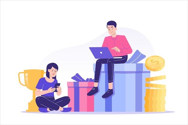 Marketing de referência com pessoas sentadas em cima de presentes e dinheiro