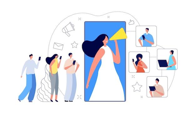 Marketing de referência. indique um amigo, grupo de clientes de influência da internet. programa de fidelidade criativa, ilustração em vetor telefone cliente convite. marketing de programa, metáfora de promoção móvel