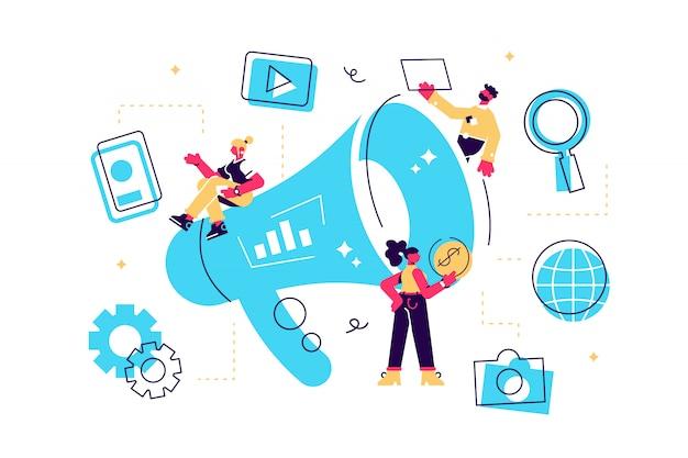 Marketing de saída do conceito. ilustração marketing offline ou de interrupção, marketing de permissão, marketing digital.