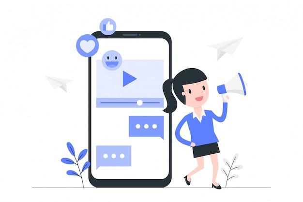 Marketing de vídeo e ilustração do conceito de publicidade.