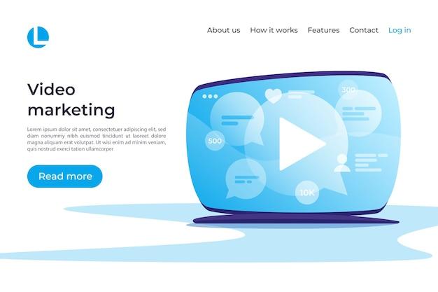 Marketing de vídeo, mídia social, conceito de entretenimento. modelo de página de destino. amostras globais