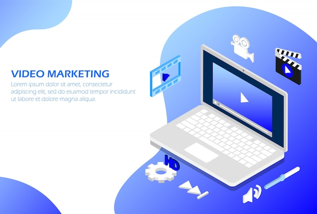 Marketing de vídeo no laptop