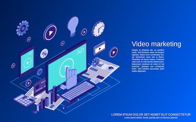 Marketing de vídeo, publicidade, promoção isométrica plana