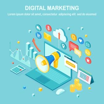 Marketing digital. computador isométrico 3d. publicidade de estratégia de desenvolvimento de negócios. análise de mídia social