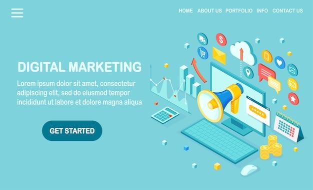 Marketing digital. computador isométrico, laptop, pc com dinheiro, gráfico, pasta, megafone, alto-falante, megafone. publicidade de estratégia de desenvolvimento de negócios. análise de mídia social