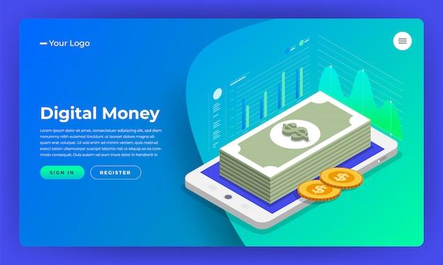Marketing digital do conceito do site. dinheiro digital analise com gráfico gráfico. ilustração.