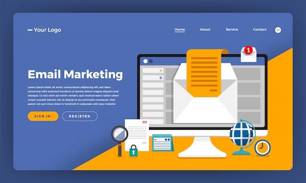 Marketing digital do conceito do site. marketing de email. ilustração.