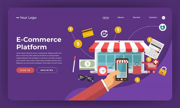 Marketing digital do conceito do site. plataforma de comércio eletrônico. ilustração.
