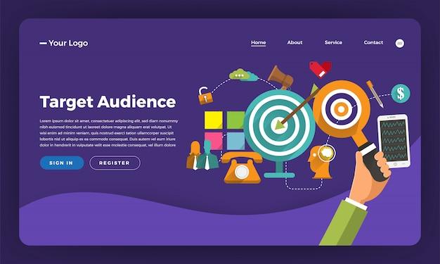Marketing digital do conceito do site. público-alvo. ilustração.