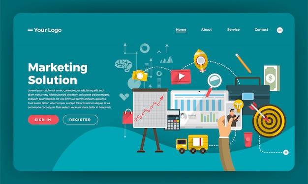Marketing digital do conceito do site. solução de marketing. ilustração.