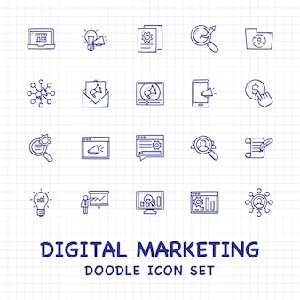 Marketing digital doodle conjunto de ícones