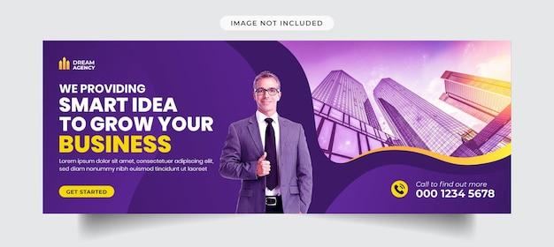 Marketing digital e capa do facebook corporativo e modelo de banner