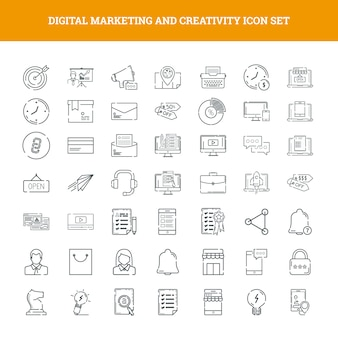 Marketing digital e criatividade icon set