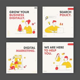 Marketing digital e design de cartaz baseado em conceito de negócio em quatro opções.
