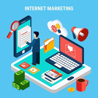 Marketing digital na internet isométrico com vários dispositivos calendar dinheiro na ilustração 3d azul