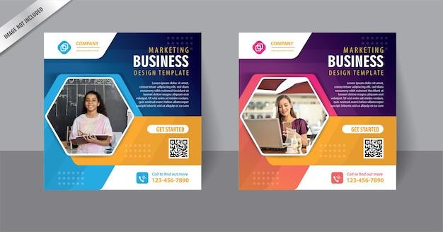 Marketing digital para mídia social modelo de pós-banner