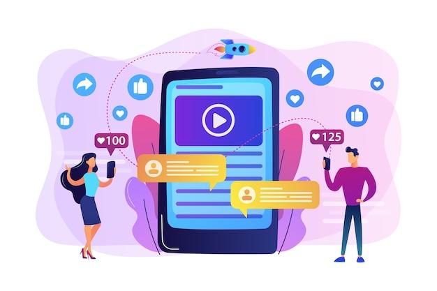 Marketing digital, publicidade online, smm. notificação de aplicativo, bate-papo, mensagens de texto. conteúdo viral, criação de meme da internet, conceito de conteúdo compartilhado em massa.