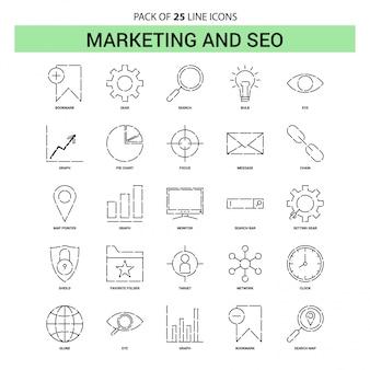 Marketing e conjunto de ícones de linha de seo - 25 estilo de contorno traçado