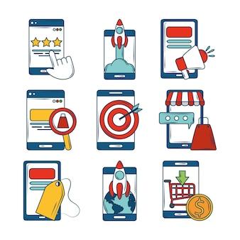 Marketing, ícones com desenvolvimento e gerenciamento de aplicativos para smartphones móveis