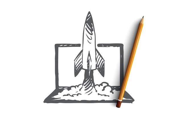 Marketing, mídia, negócios, social, conceito de publicidade. foguete desenhado de mão a partir do esboço do conceito do laptop.
