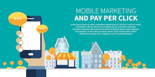 Marketing móvel e pagamento por clique na web banner