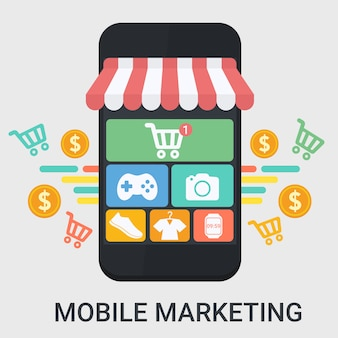 Marketing móvel em um design plano
