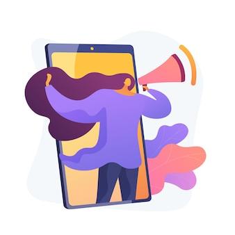 Marketing móvel, smm. anúncio de rede de mídia social. smartphone, app, notificação. profissional de marketing feminino segurando personagem plana do megafone.