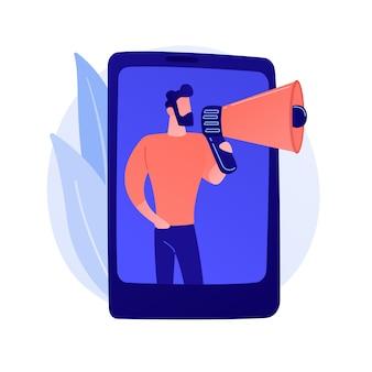 Marketing móvel, smm. anúncio de rede de mídia social. smartphone, app, notificação. profissional de marketing segurando uma ilustração de personagem plana em megafone