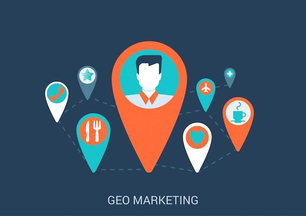 Marketing on-line geo visando a ilustração de estilo simples do conceito.